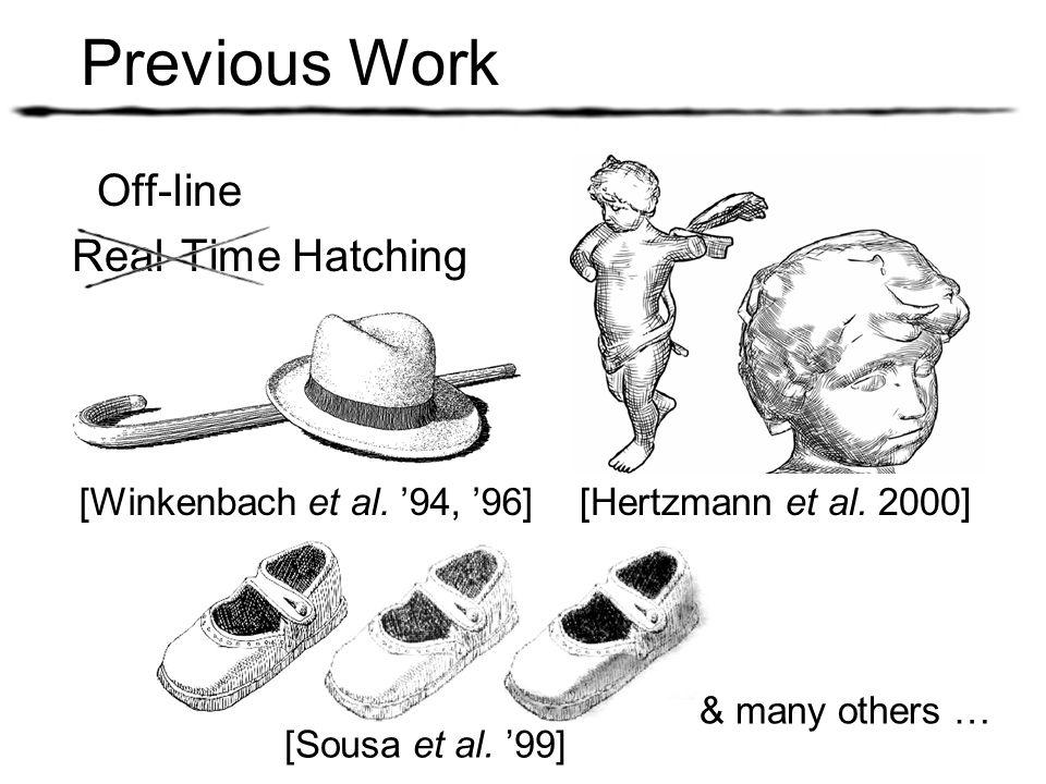 Previous Work Off-line Real-Time Hatching [Winkenbach et al. 94, 96] [Sousa et al. 99] & many others … [Hertzmann et al. 2000]