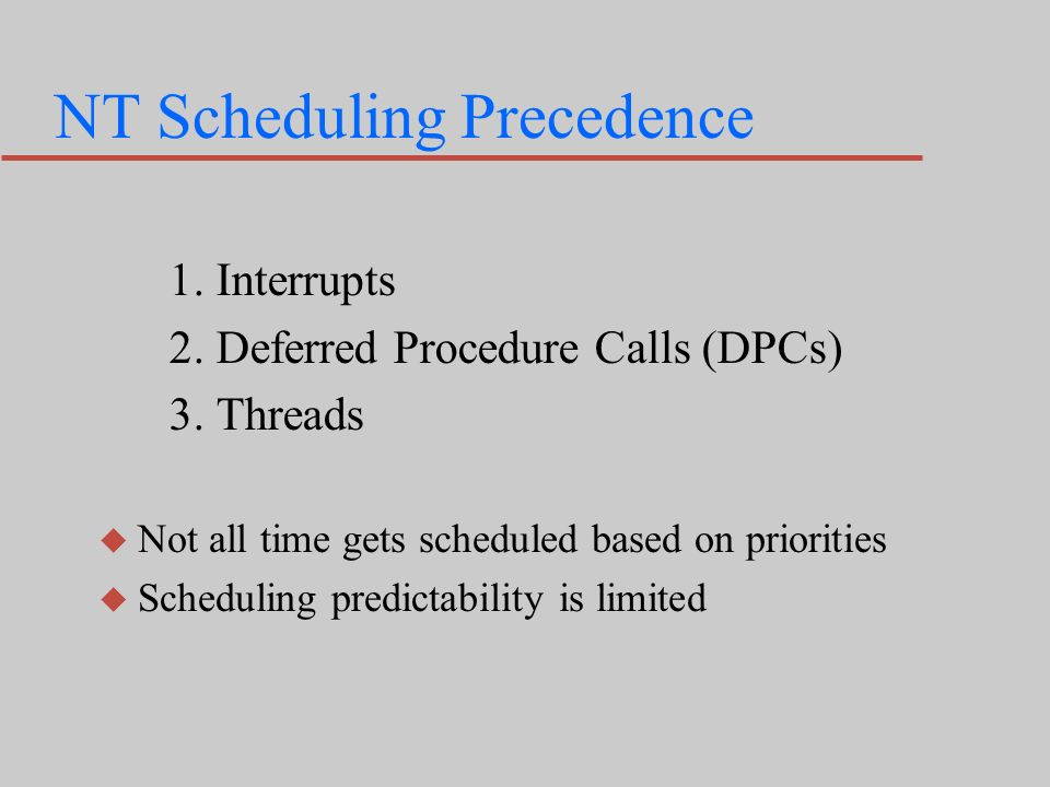 NT Scheduling Precedence 1. Interrupts 2. Deferred Procedure Calls (DPCs) 3.