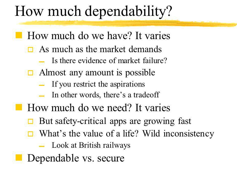 How much dependability. nHow much do we have.