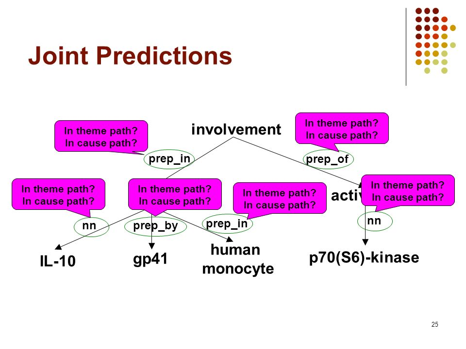 25 Joint Predictions involvement IL-10 human monocyte prep_in nnprep_by gp41 p70(S6)-kinase activation prep_in prep_of nn In theme path? In cause path