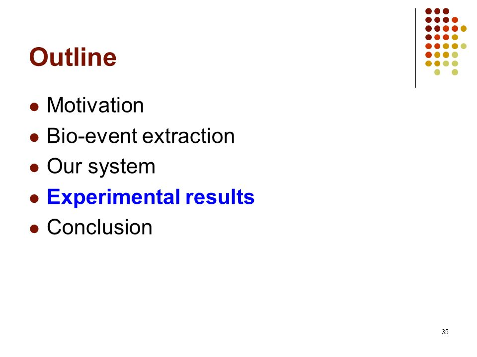 35 Outline Motivation Bio-event extraction Our system Experimental results Conclusion