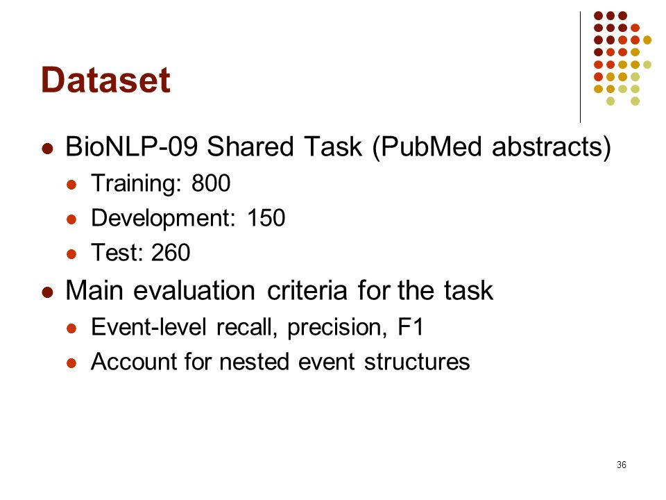 36 Dataset BioNLP-09 Shared Task (PubMed abstracts) Training: 800 Development: 150 Test: 260 Main evaluation criteria for the task Event-level recall, precision, F1 Account for nested event structures