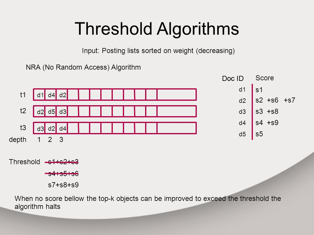 Threshold Algorithms Input: Posting lists sorted on weight (decreasing) t1 t3 t2 depth1 d1 d3 d2 NRA (No Random Access) Algorithm d4 d5 d2 2 Doc ID Score Doc ID d1 t1 s1 d2 s2 d3 s3 d4 d5 s5 s4 +s6 d4 d3 d2 3 +s7 +s8 +s9 Thresholds1+s2+s3 s4+s5+s6 s7+s8+s9 When no score bellow the top-k objects can be improved to exceed the threshold the algorithm halts