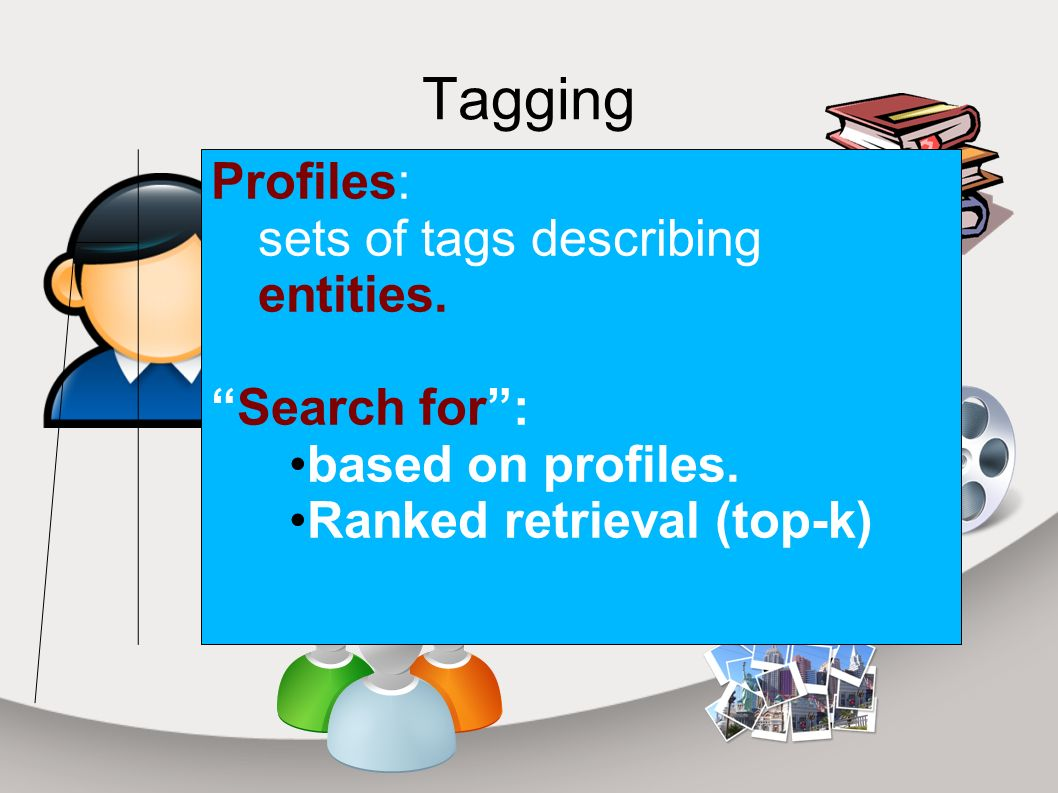 Tagging Tag 1 Tag 2 Tag 3 Tag 4 Tag 5 Profiles: sets of tags describing entities.