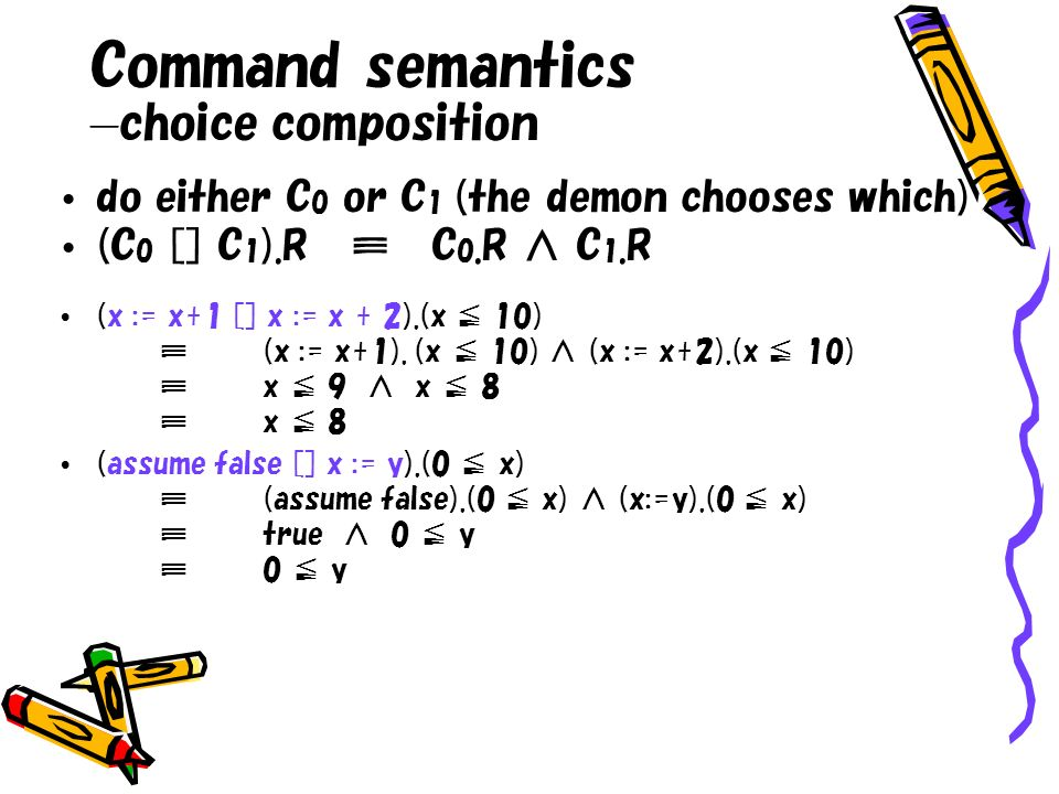 do either C 0 or C 1 (the demon chooses which) (C 0 [] C 1 ).R C 0.R C 1.R (x := x+1 [] x := x + 2).(x 10)(x := x+1). (x 10) (x := x+2).(x 10)x 9 x 8