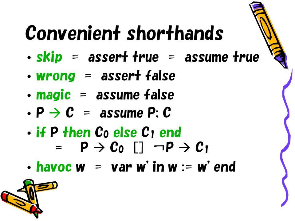 Convenient shorthands skip = assert true = assume true wrong = assert false magic = assume false P C = assume P; C if P then C 0 else C 1 end = P C 0 [] P C 1 havoc w = var win w := wend