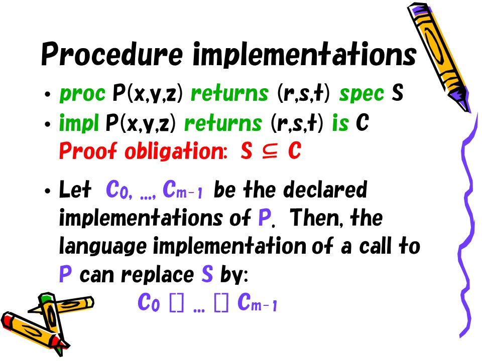 Procedure implementations proc P(x,y,z) returns (r,s,t) spec S impl P(x,y,z) returns (r,s,t) is C Proof obligation: S C Let C 0,..., C m- 1 be the declared implementations of P.