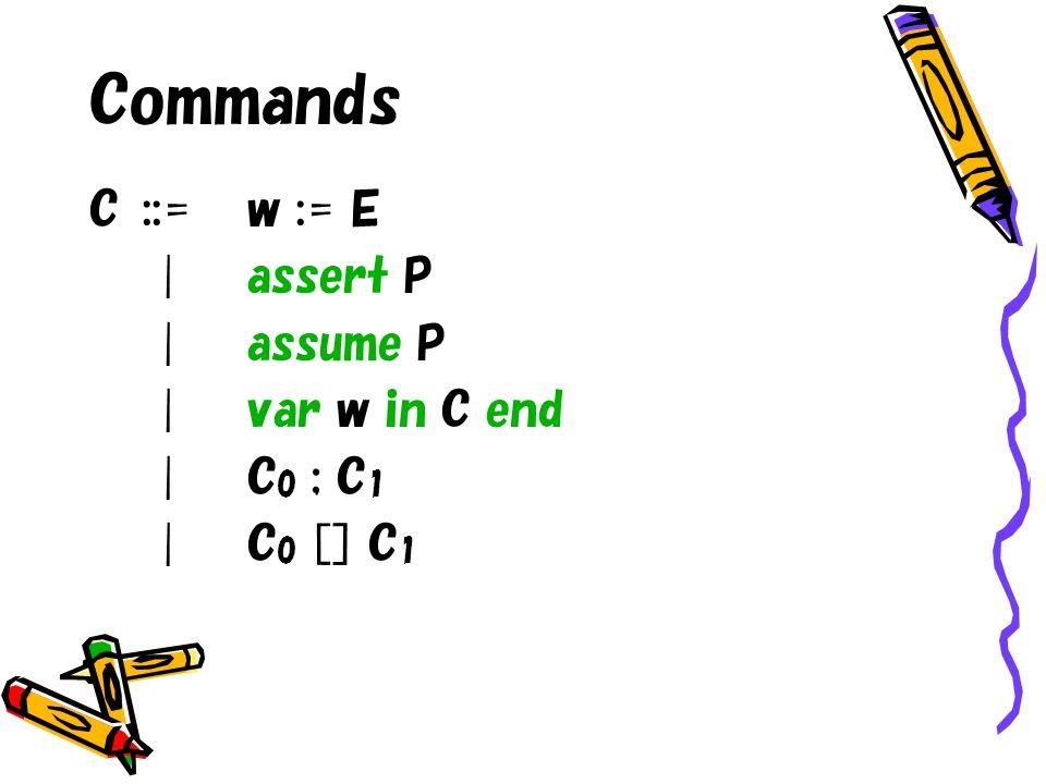 Commands C::=w := E |assert P |assume P |var w in C end |C 0 ; C 1 |C 0 [] C 1