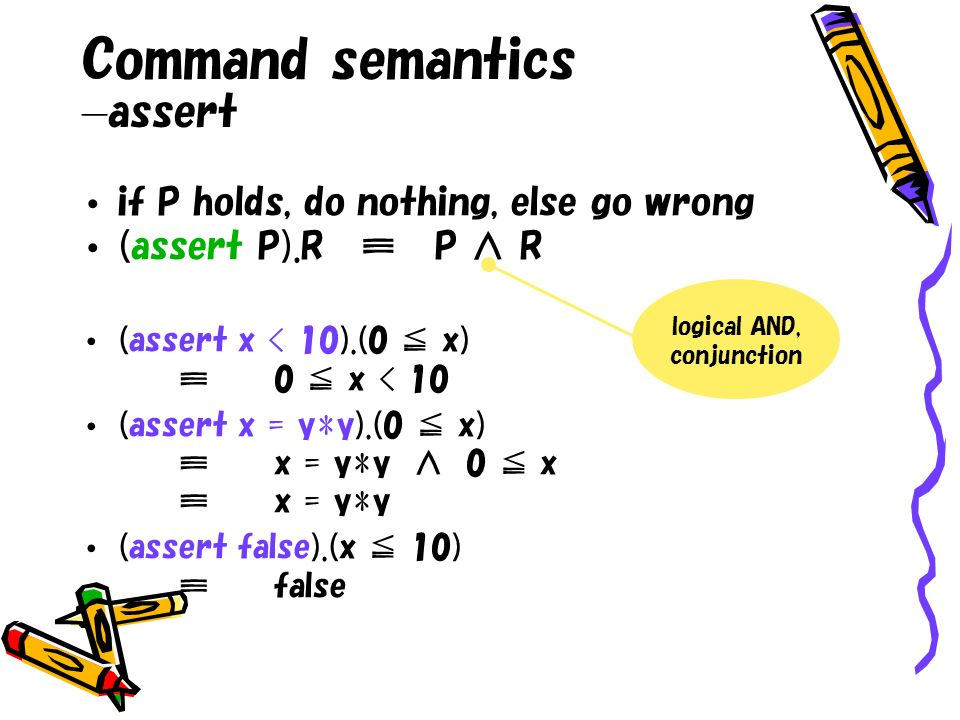 Command semantics assert if P holds, do nothing, else go wrong (assert P).R P R (assert x < 10).(0 x)0 x < 10 (assert x = y*y).(0 x)x = y*y 0 xx = y*y (assert false).(x 10)false logical AND, conjunction