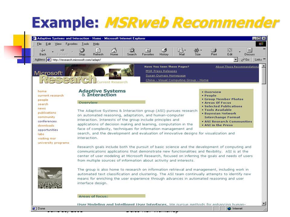 June 18, 2001Delos-NSF Workshop Example:MSRweb Recommender Example: MSRweb Recommender