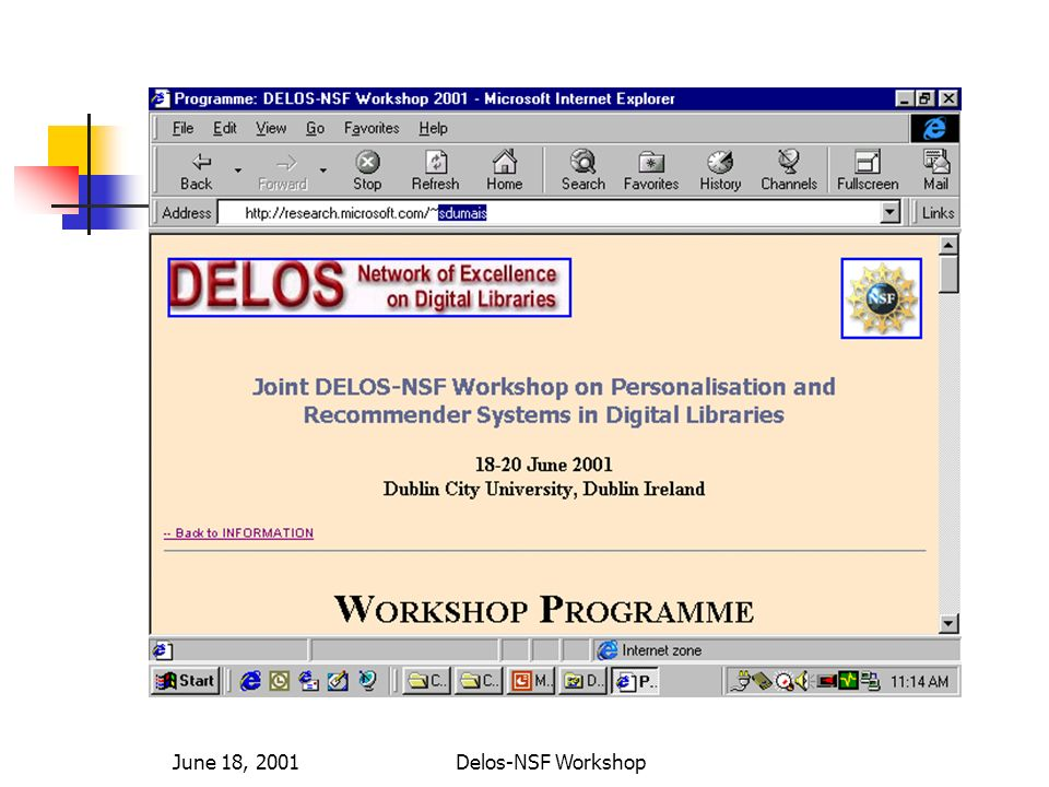 June 18, 2001Delos-NSF Workshop