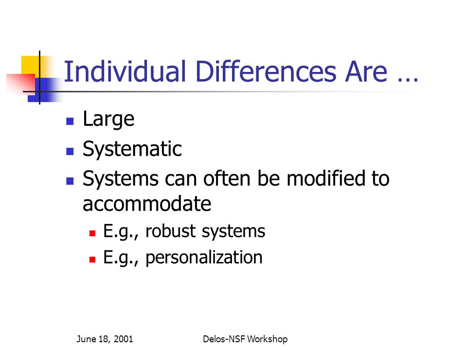 June 18, 2001Delos-NSF Workshop Individual Differences Are … Large Systematic Systems can often be modified to accommodate E.g., robust systems E.g., personalization