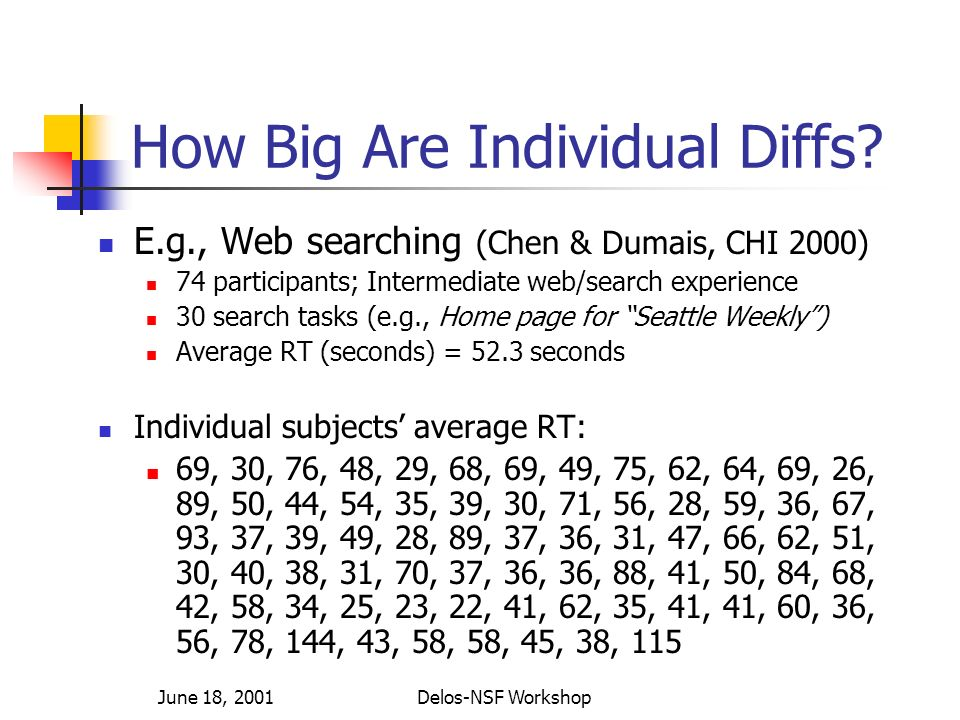 June 18, 2001Delos-NSF Workshop How Big Are Individual Diffs.