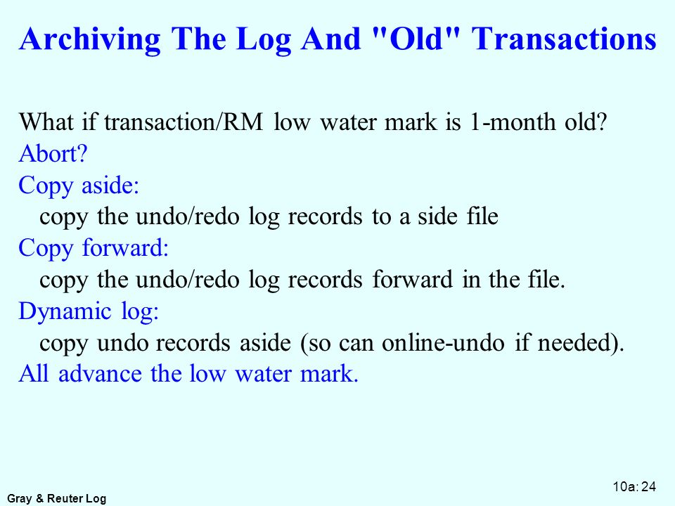 Gray & Reuter Log 10a: 24 Archiving The Log And Old Transactions What if transaction/RM low water mark is 1-month old.