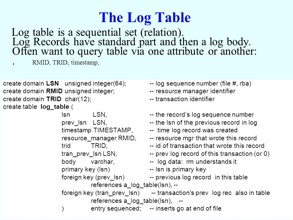 Gray & Reuter Log 10a: 6 The Log Table Log table is a sequential set (relation).