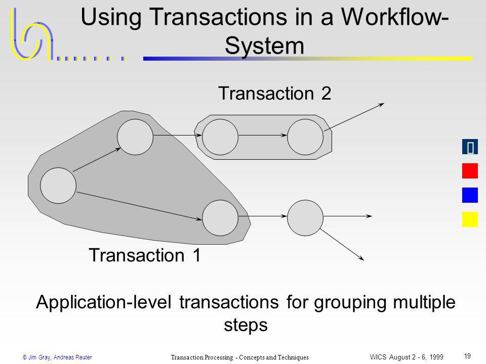 © Jim Gray, Andreas Reuter Transaction Processing - Concepts and Techniques WICS August 2 - 6, 1999 19 Using Transactions in a Workflow- System Applic