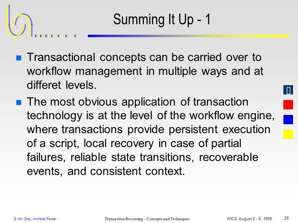 © Jim Gray, Andreas Reuter Transaction Processing - Concepts and Techniques WICS August 2 - 6, 1999 28 Summing It Up - 1 n Transactional concepts can