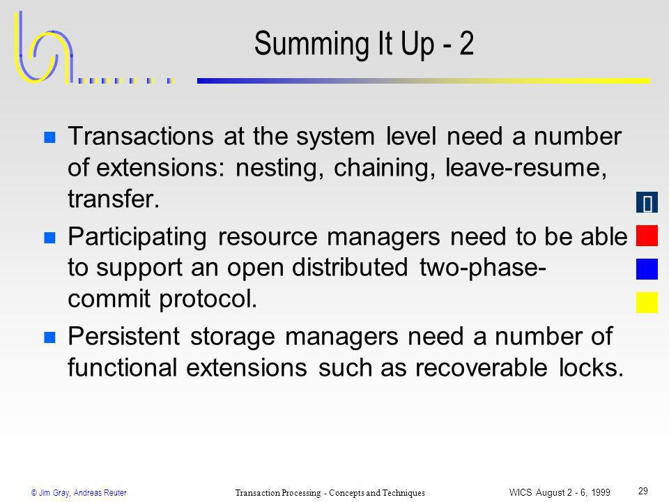 © Jim Gray, Andreas Reuter Transaction Processing - Concepts and Techniques WICS August 2 - 6, 1999 29 Summing It Up - 2 n Transactions at the system