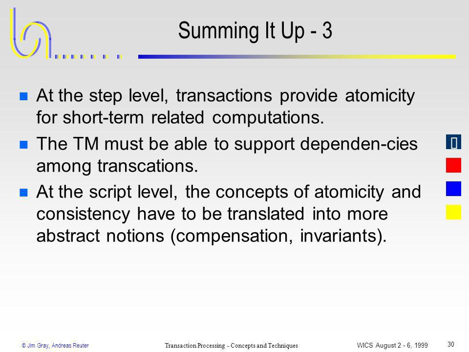 © Jim Gray, Andreas Reuter Transaction Processing - Concepts and Techniques WICS August 2 - 6, 1999 30 Summing It Up - 3 n At the step level, transact