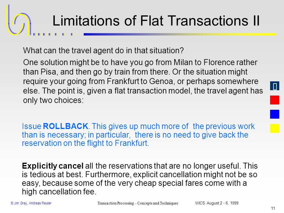 © Jim Gray, Andreas Reuter Transaction Processing - Concepts and Techniques WICS August 2 - 6, 1999 10 Limitations of Flat Transactions I BEGIN WORK S