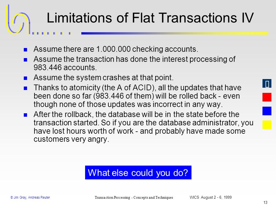 © Jim Gray, Andreas Reuter Transaction Processing - Concepts and Techniques WICS August 2 - 6, 1999 12 Limitations of Flat Transactions III ComputeInt