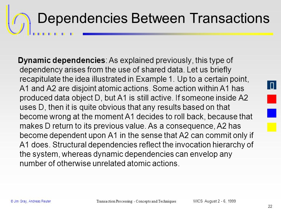 © Jim Gray, Andreas Reuter Transaction Processing - Concepts and Techniques WICS August 2 - 6, 1999 21 Dependencies Between Transactions Structural de