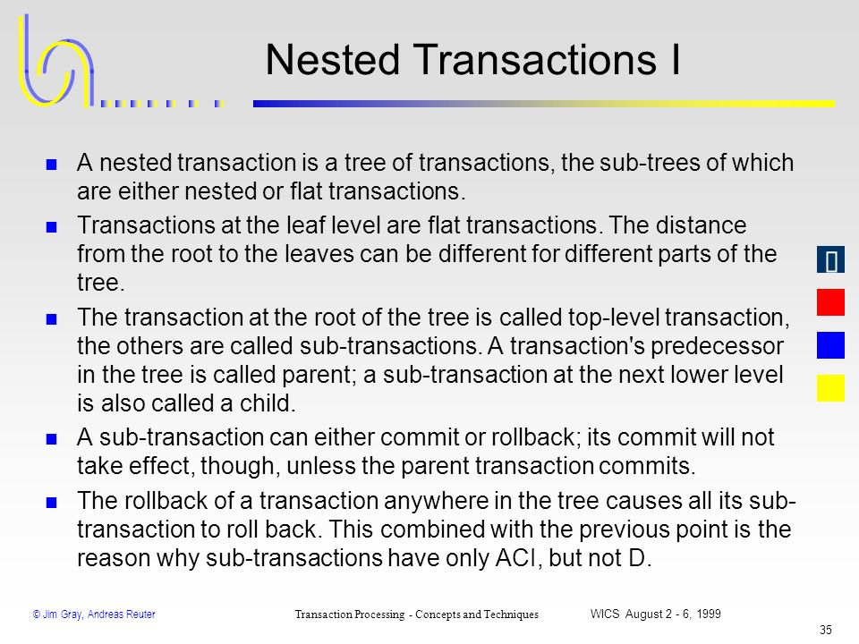 © Jim Gray, Andreas Reuter Transaction Processing - Concepts and Techniques WICS August 2 - 6, 1999 34 Chained Transactions vs. Savepoints Workflow st