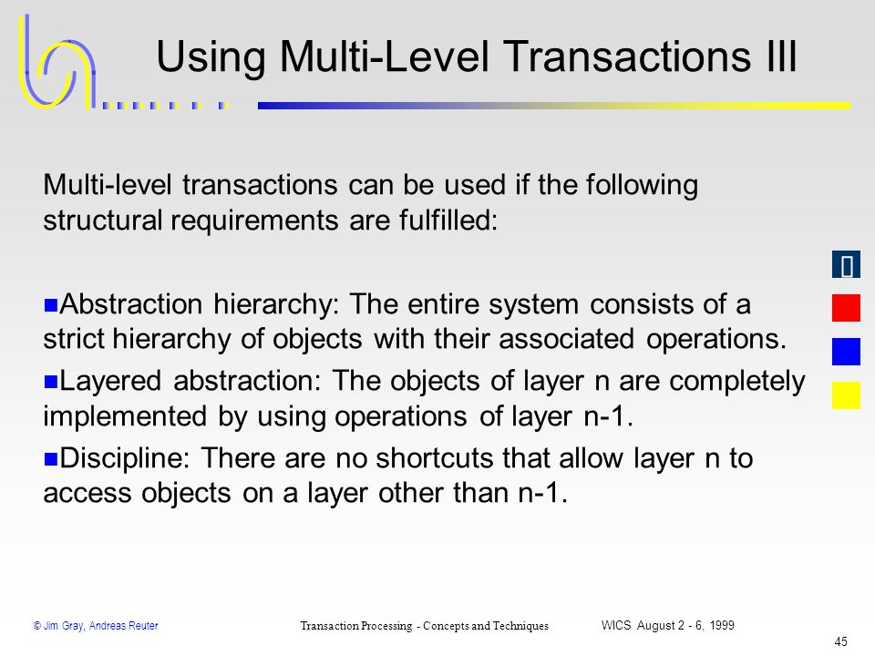 © Jim Gray, Andreas Reuter Transaction Processing - Concepts and Techniques WICS August 2 - 6, 1999 44 Using Multi-Level Transactions II