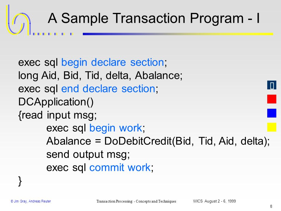 © Jim Gray, Andreas Reuter Transaction Processing - Concepts and Techniques WICS August 2 - 6, 1999 7 Three Outcomes of a Flat Transaction