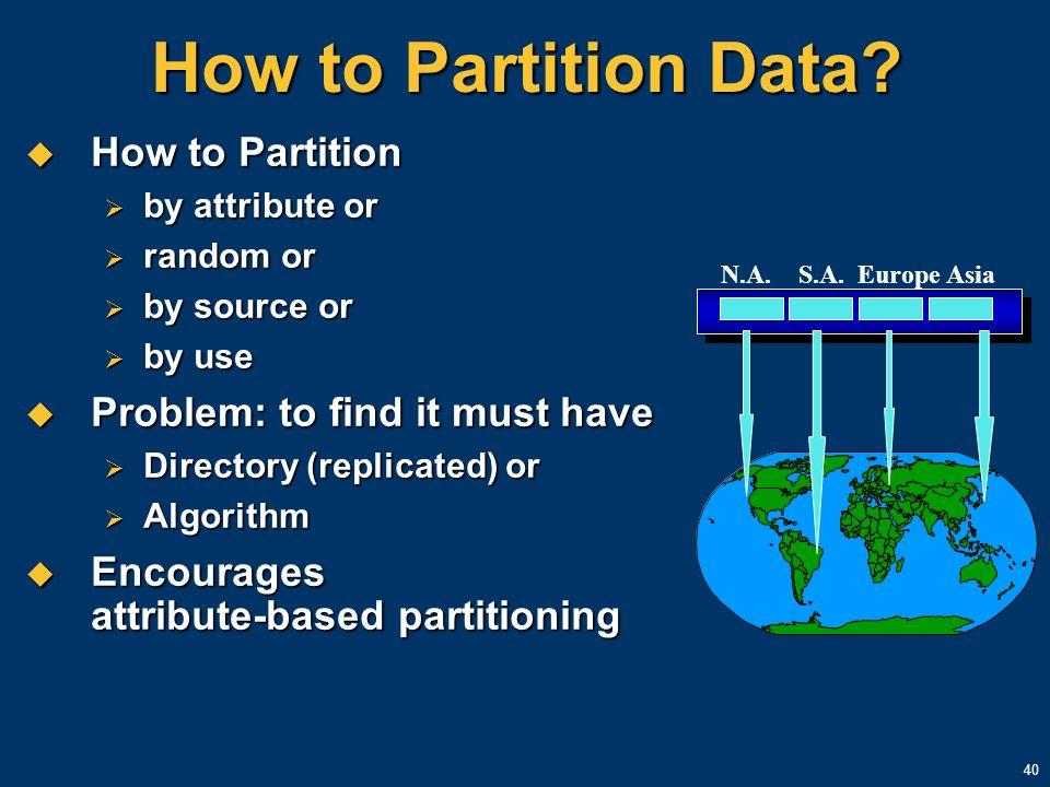 40 How to Partition Data? How to Partition How to Partition by attribute or by attribute or random or random or by source or by source or by use by us