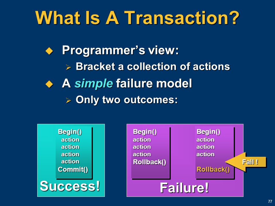 77 What Is A Transaction? Programmers view: Programmers view: Bracket a collection of actions Bracket a collection of actions A simple failure model A