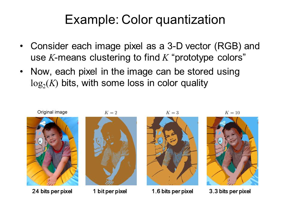 Example: Color quantization Consider each image pixel as a 3-D vector (RGB) and use K -means clustering to find K prototype colors Now, each pixel in the image can be stored using log 2 (K) bits, with some loss in color quality 1 bit per pixel24 bits per pixel1.6 bits per pixel3.3 bits per pixel