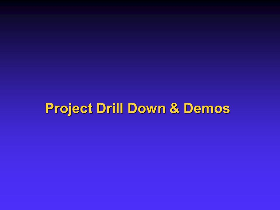Project Drill Down & Demos