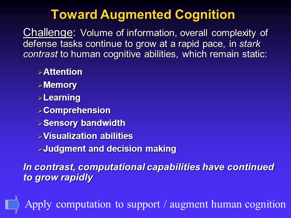 Toward Augmented Cognition Challenge: Volume of information, overall complexity of defense tasks continue to grow at a rapid pace, in stark contrast to human cognitive abilities, which remain static: Attention Attention Memory Memory Learning Learning Comprehension Comprehension Sensory bandwidth Sensory bandwidth Visualization abilities Visualization abilities Judgment and decision making Judgment and decision making In contrast, computational capabilities have continued to grow rapidly Apply computation to support / augment human cognition