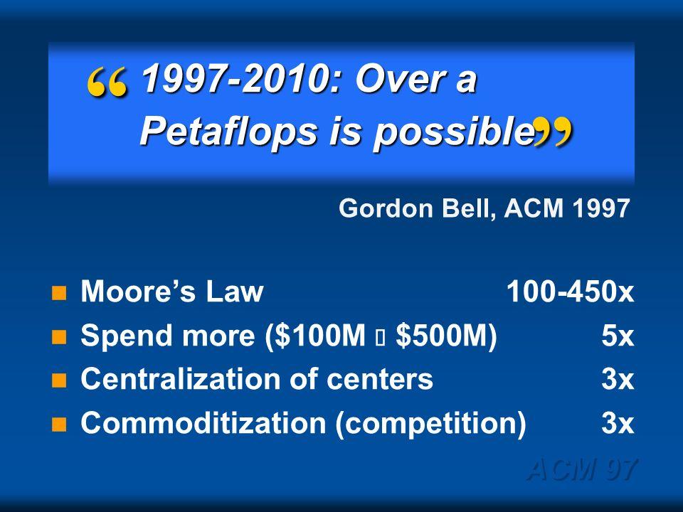 ACM 97 Petaflops by 2010 DOE Accelerated Strategic Computing Initiative (ASCI)