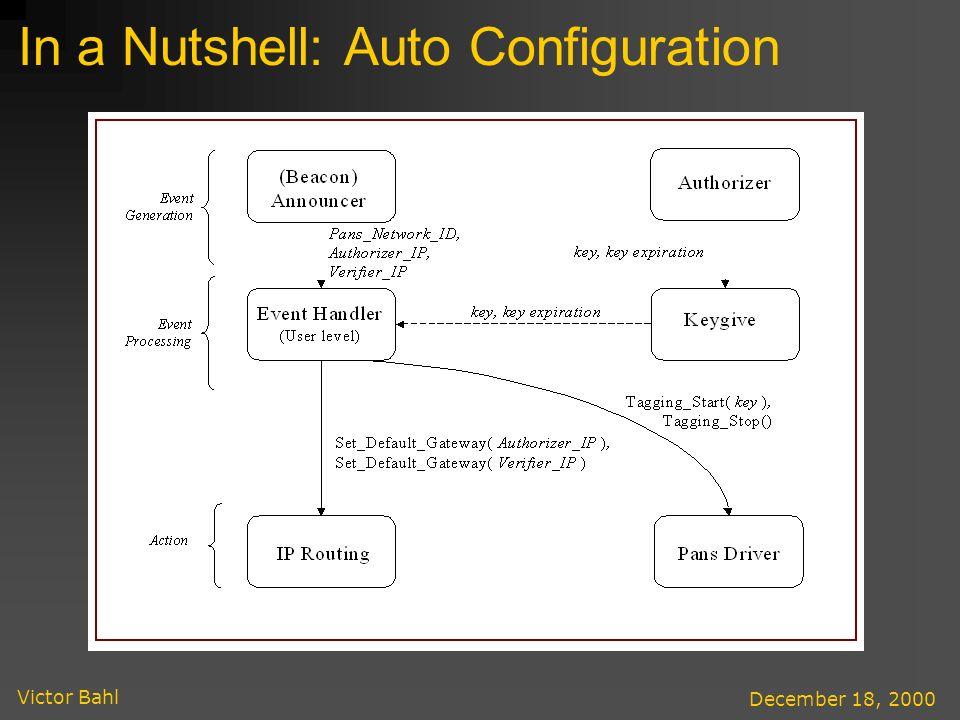 Victor Bahl December 18, 2000 In a Nutshell: Auto Configuration