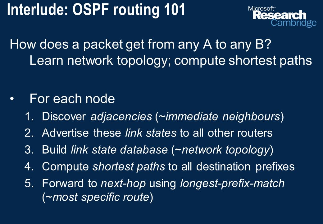 Interlude: OSPF routing 101 How does a packet get from any A to any B.