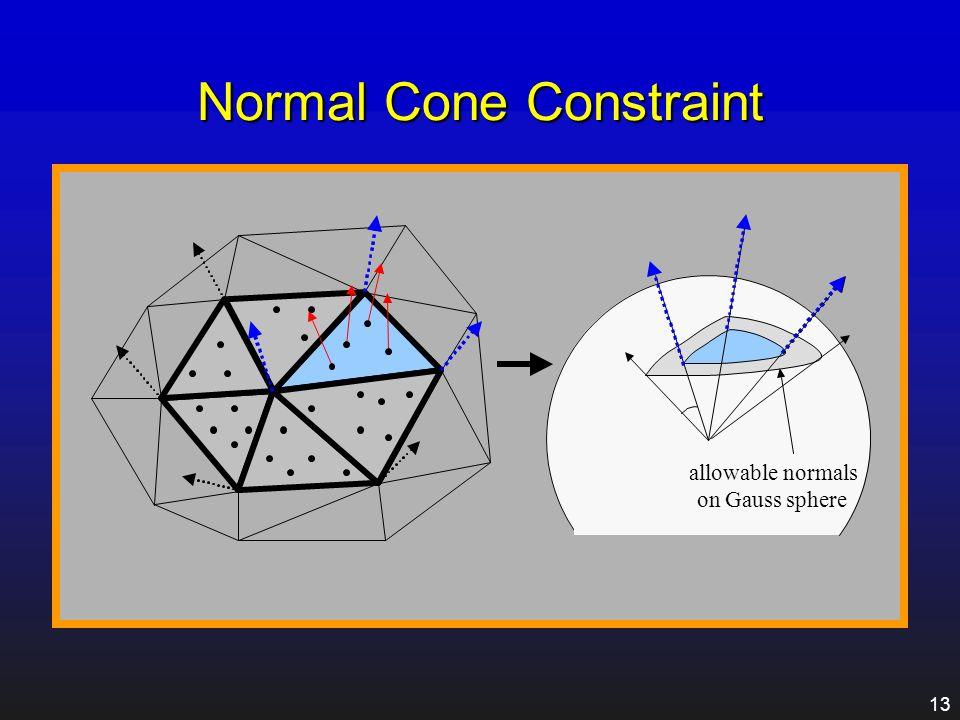 12 Control Mesh Creation Mesh Simplification Original MeshInitial Control Mesh [Garland 97] Surface simplification using quadric error metrics Normal