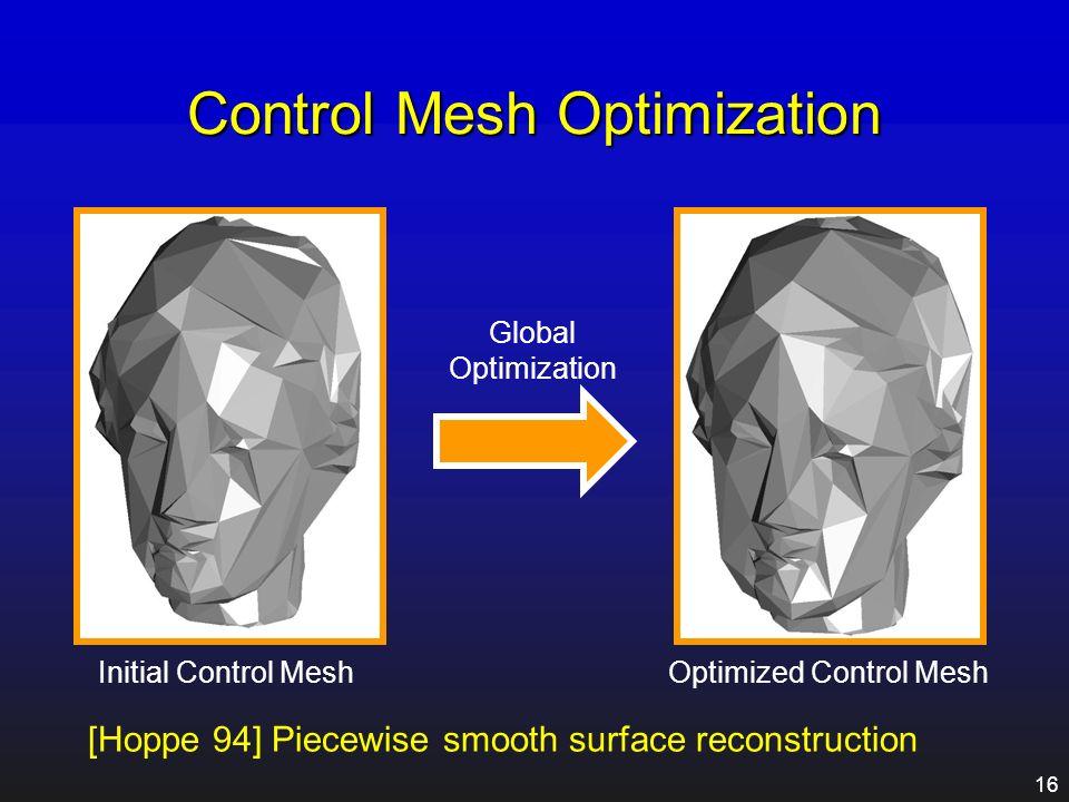 15 Control Mesh Creation Mesh Simplification Original MeshInitial Control Mesh Normal Cone Constraint
