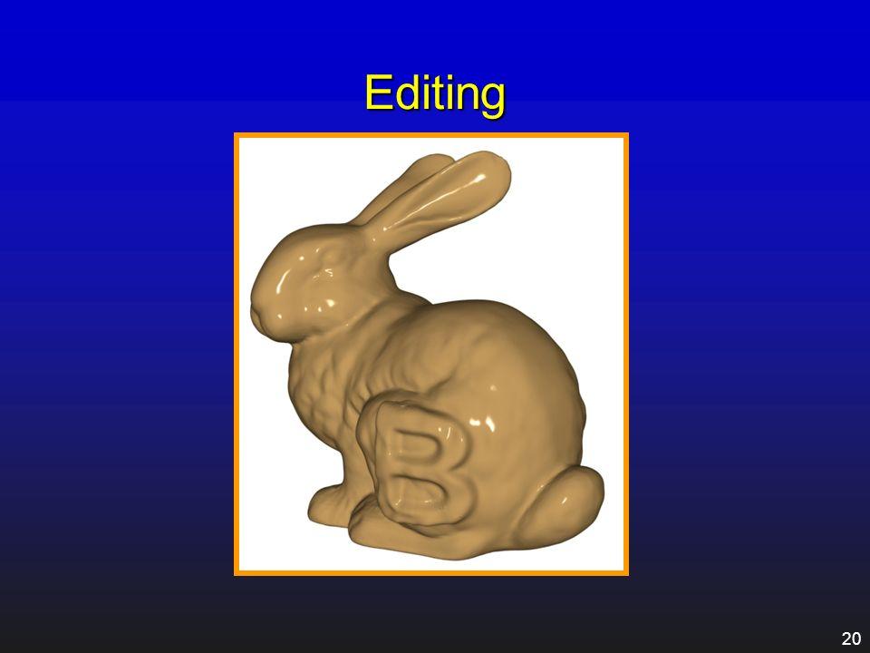 19 Applications Editing Animation Bump mapping Adaptive tessellation Compression