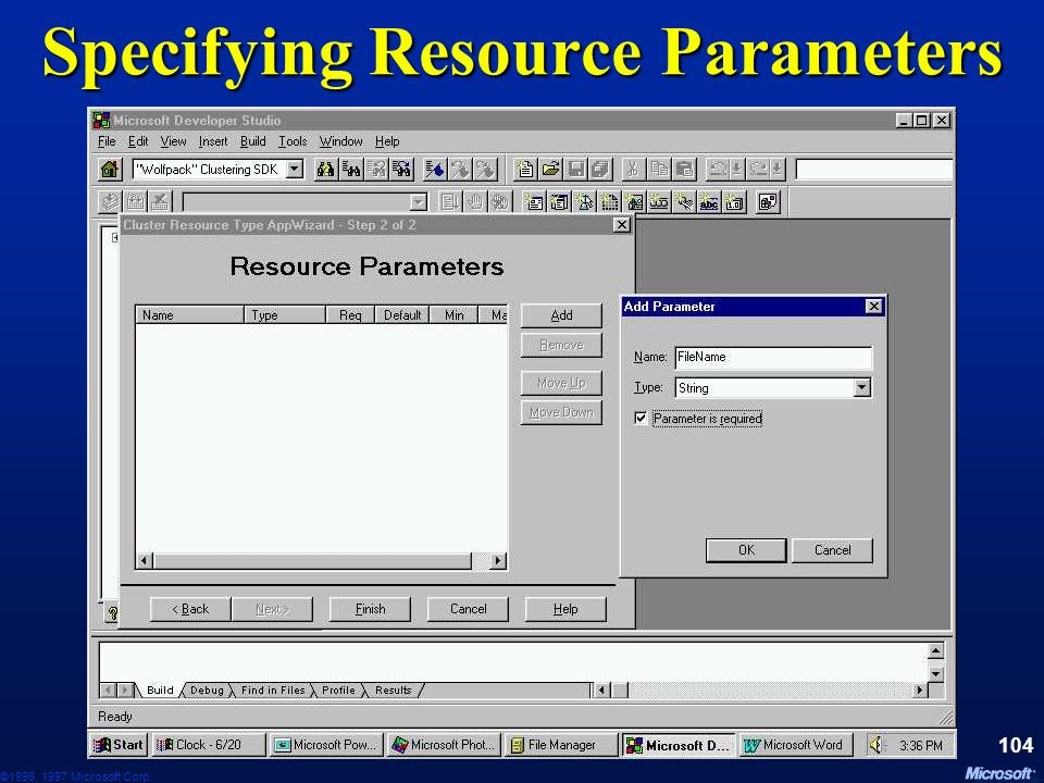 ©1996, 1997 Microsoft Corp. 103 Specifying Resource Type Name