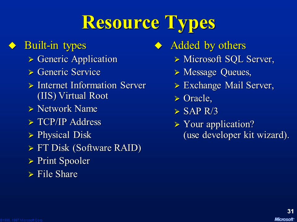©1996, 1997 Microsoft Corp. 30 Resources Resources have... Type: what it does (file, DB, print, web…) Type: what it does (file, DB, print, web…) An op