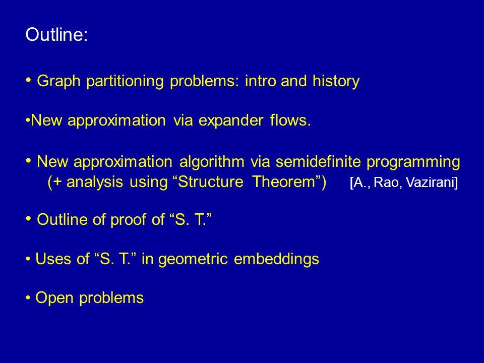 Sparsest Cut / Edge Expansion S S G = (V, E) c- balanced separator Both NP-hard G) = min S µ V | E(S, S c )| |S| |S| < |V|/2 c (G) = min S µ V | E(S, S c )| |S| c |V| < |S| < |V|/2