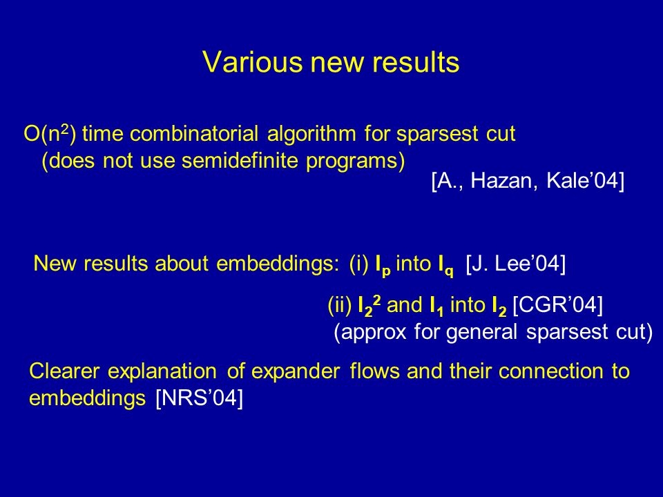 Various new results O(n 2 ) time combinatorial algorithm for sparsest cut (does not use semidefinite programs) [A., Hazan, Kale04] New results about embeddings: (i) l p into l q [J.