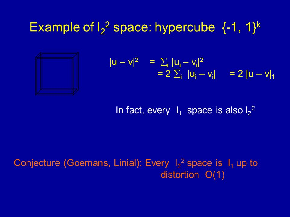 Example of l 2 2 space: hypercube {-1, 1} k |u – v| 2 = i |u i – v i | 2 = 2 i |u i – v i | = 2 |u – v| 1 In fact, every l 1 space is also l 2 2 Conjecture (Goemans, Linial): Every l 2 2 space is l 1 up to distortion O(1)