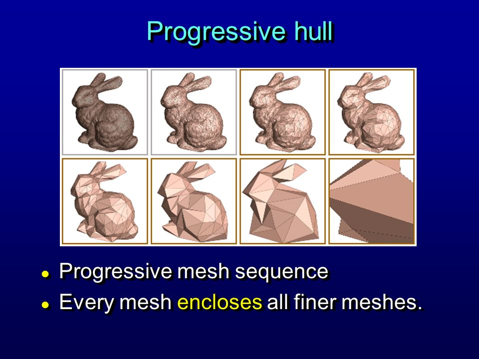 Progressive hull l Progressive mesh sequence l Every mesh encloses all finer meshes.