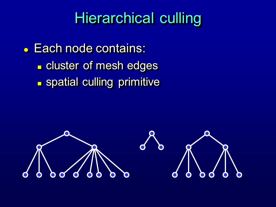 Hierarchical culling l Each node contains: n cluster of mesh edges n spatial culling primitive l Each node contains: n cluster of mesh edges n spatial culling primitive