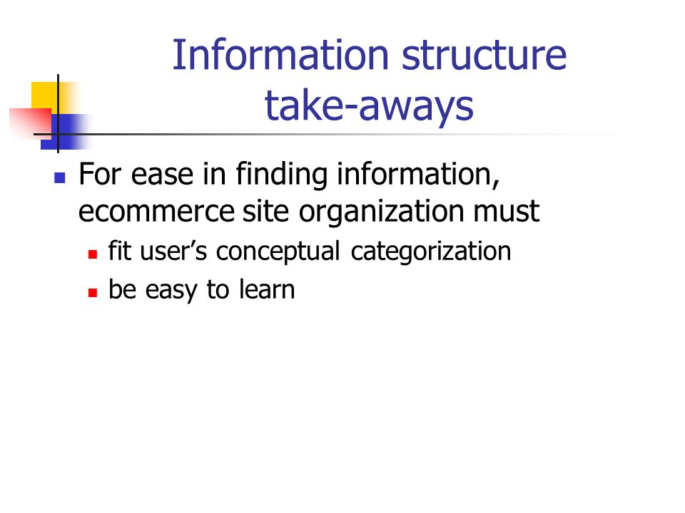 Information structure take-aways For ease in finding information, ecommerce site organization must fit users conceptual categorization be easy to learn