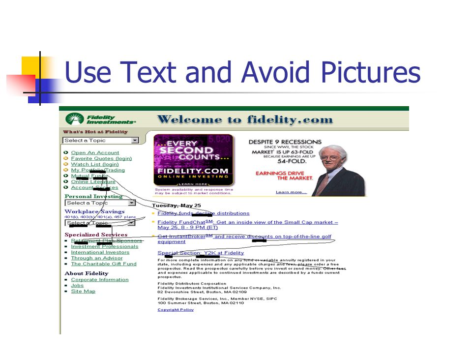 Use Text and Avoid Pictures