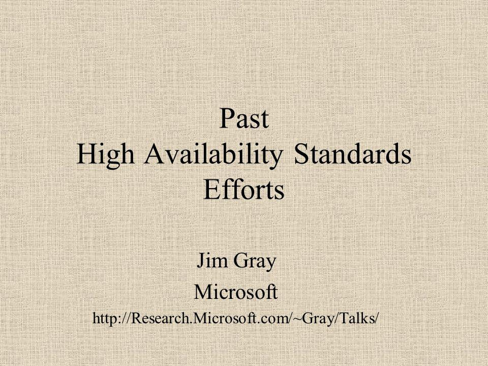 Past High Availability Standards Efforts Jim Gray Microsoft http://Research.Microsoft.com/~Gray/Talks/